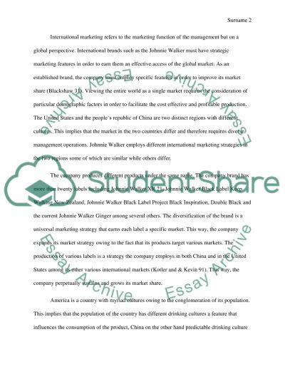 Johnnie Walker Marketing Strategies Essay example