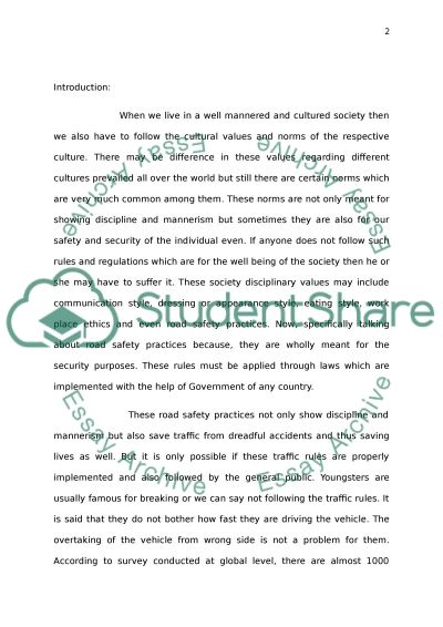 Portfolio for my 4 essay in Traffic safety Essay example