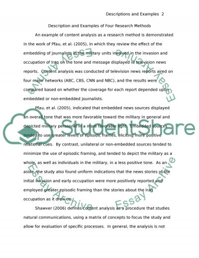 Descriptions and Examples of Four Research Methods essay example