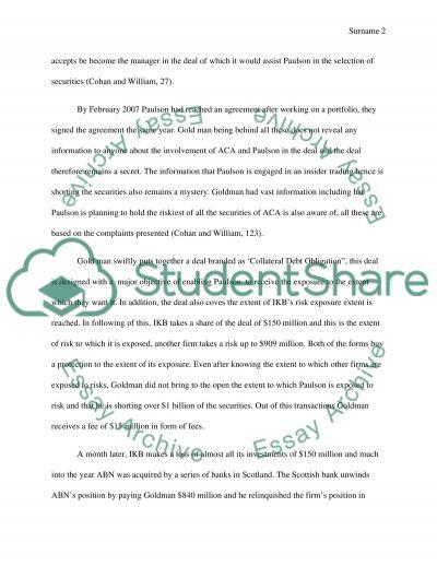 John Paulson, Goldman Sachs and Abacus 2007 AC1 essay example