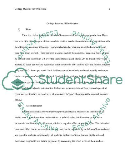 Labor Economics-College Students Effort/Leisure