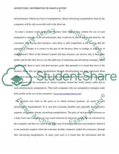 opinion essay advertising information or manipulation