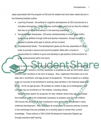 Personal Reflection on Early Childhood Development essay example