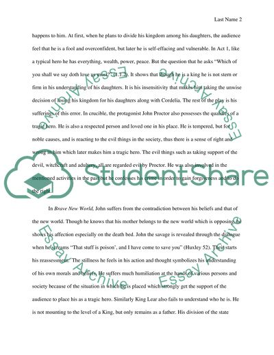 Response Essay Thesis Tragic Heroes In Brave New World King Lear And The Crucible College Vs High School Essay also Essays About English Language Tragic Heroes In Brave New World King Lear And The Crucible Essay Thesis Statement In An Essay