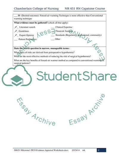 Capstone Project: Milestone #1: PICO and Evidence Appraisal Worksheets