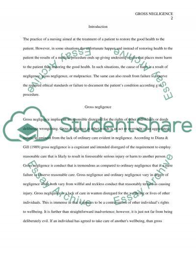 Gross Negligence essay example