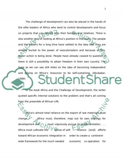 Africa and challenging development Essay example