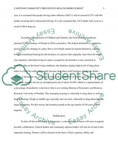 Capstone community health improvement project essay example