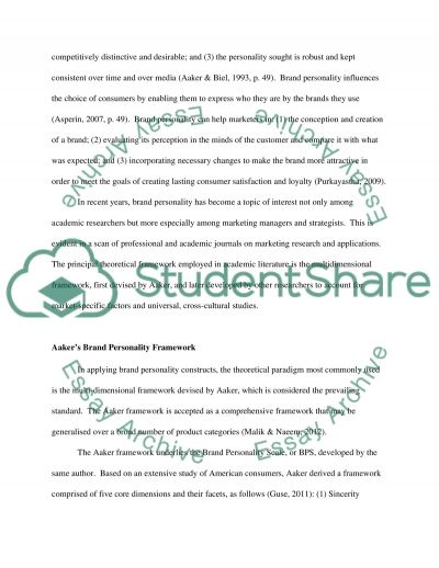 BRAND PERSONALITY essay example