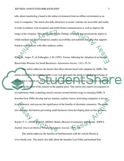 Revised Annotated bibliography