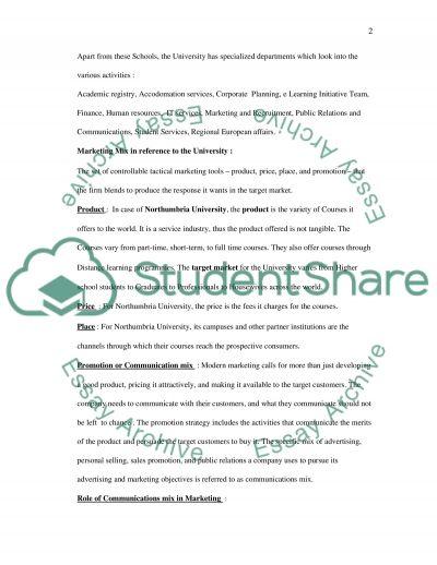 Northumbria University essay example