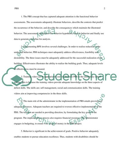 The Concept of Positive Behavior Support (PBS) Essay