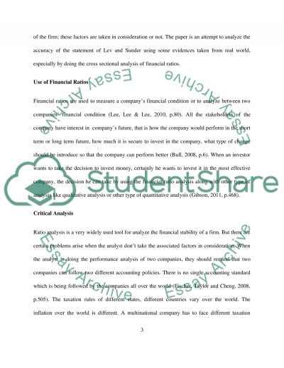 Use of Financial Ratios Essay example