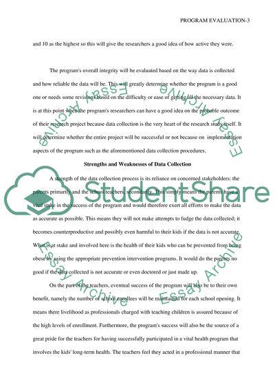 Program Evaluation Paper Part 3