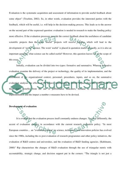 Evaluation of Science and Technology Policies essay example
