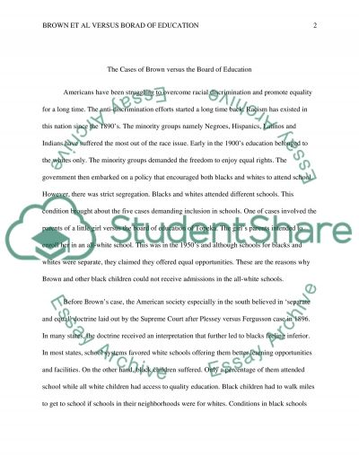 Brown v Board of Ed essay example