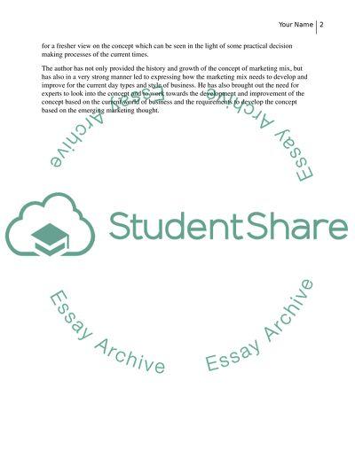 Summary of marketing article essay example