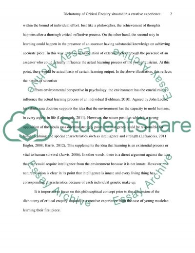 Dichotomy of Critical Enquiry Situated in a Creative Experience essay example