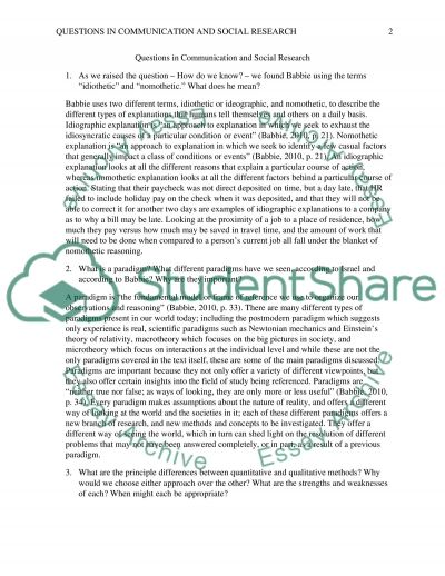 Questions in Communication & Social research essay example