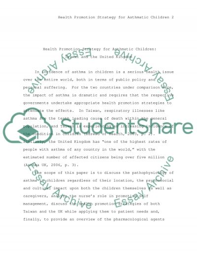 Health promotion strategy for asthmatic children essay example