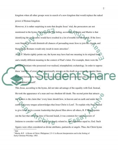 Exegetical Paper on Christ Hymn essay example