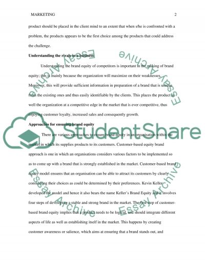 Factors that organisation can utilise to help build brand equity essay example