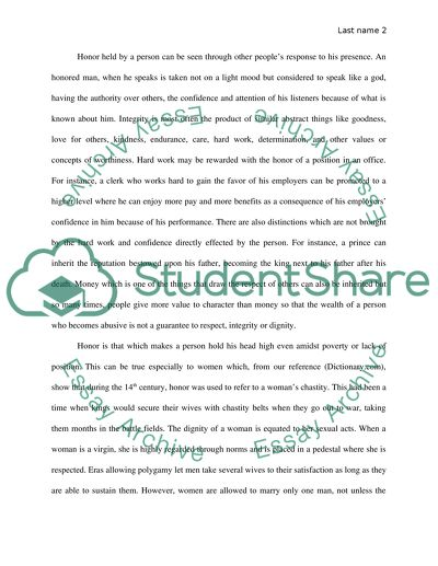 definition paper the word is honor essay example  topics and well  the word is honor