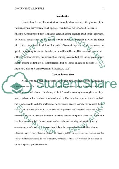 Conducting a Lecture essay example