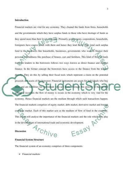 International Financial Markets essay example