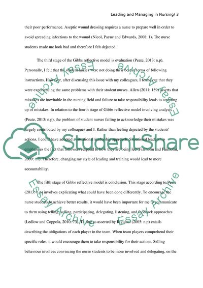 reflective essay on leadership and management in nursing