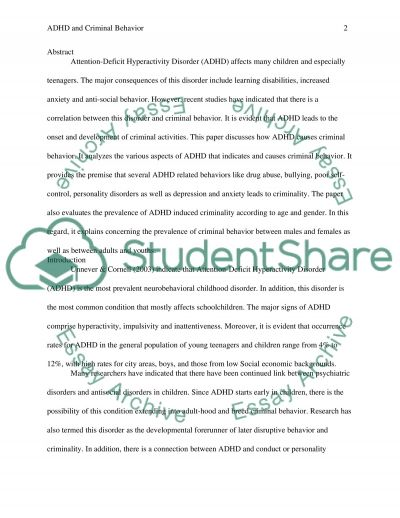 Link between ADHD and Criminal Behavior essay example