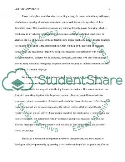 Parent Letter essay example