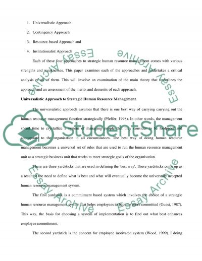 the strategic international human resource management essay Strategic human resources academic paper strategic human resource management the international journal of human resource.