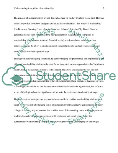 Understanding four pillars of sustainability essay example