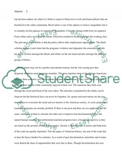 The ethic of equal opportunity Essay example