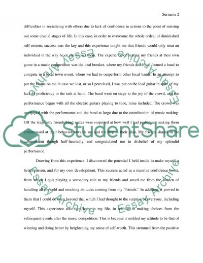 Example Of A Personal Essayself Experience Essay. Topics English