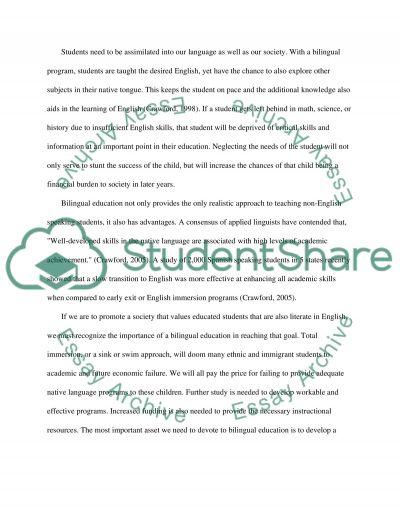 Bilingual Education in America essay example
