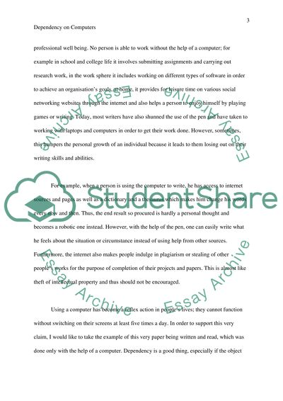 Dependence on computers essay