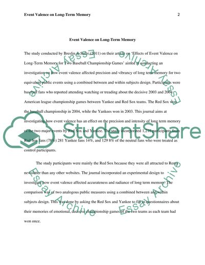 Argumentative Essay On Health Care Reform Event Valence On Longterm Memory Business Law Essay Questions also Research Essay Topics For High School Students Event Valence On Longterm Memory Essay Example  Topics And Well  Essays On Science And Technology