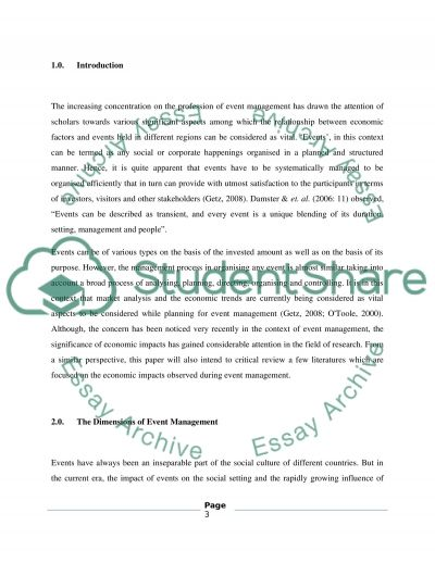 Economic Impacts on Event Management essay example