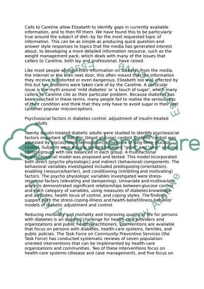 Living with Diabetes essay example