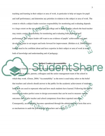 The role and responsibilities of a subject leader in secondary school essay example