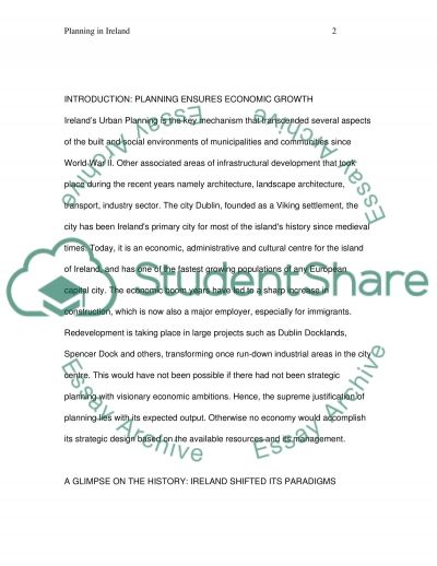 Planning in Ireland. Does Planning Ensures Economic Growth essay example