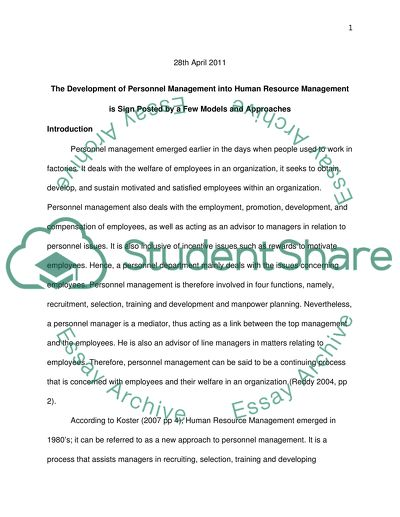 The development of personnel management into human resource management