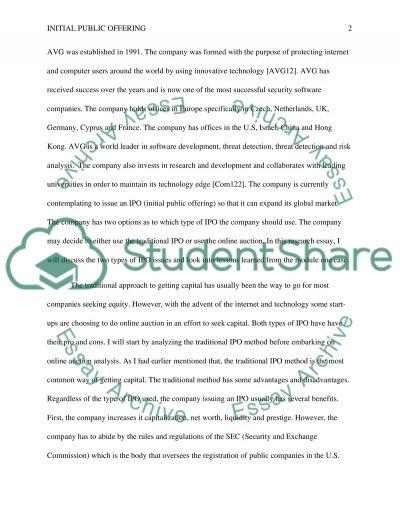 INITIAL PUBLIC OFFERINGS essay example