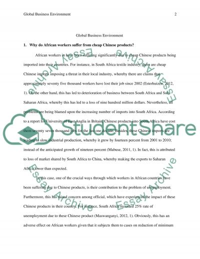 Global Business Environment essay example