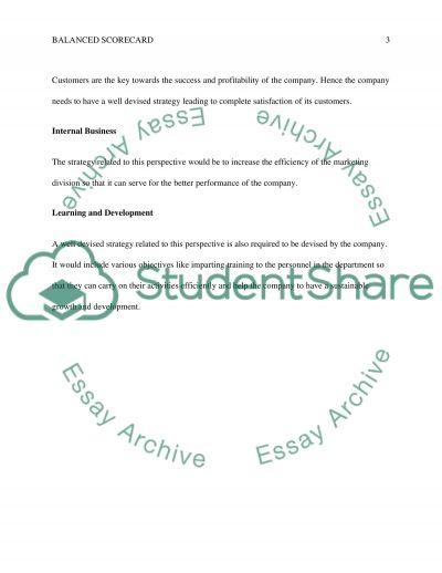 BALANCED SCORECARD essay example