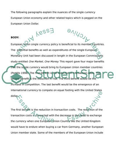 European Union Single Currency Policy