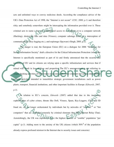 Controlling the Internet Essay example