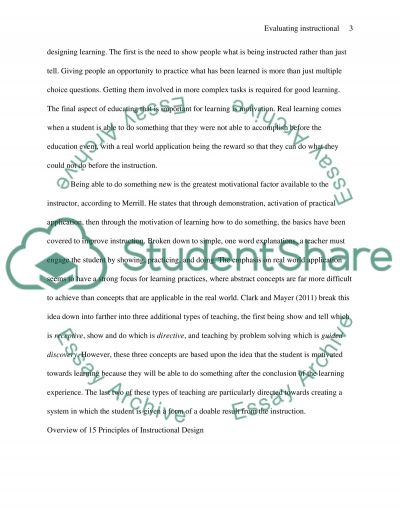 Evaluating Instructional Design essay example